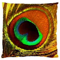 Peacock Feather Eye Large Cushion Case (one Side)