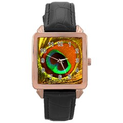 Peacock Feather Eye Rose Gold Leather Watch