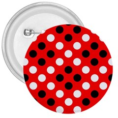 Red & Black Polka Dot Pattern 3  Buttons by Nexatart