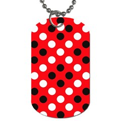 Red & Black Polka Dot Pattern Dog Tag (two Sides) by Nexatart