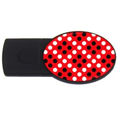 Red & Black Polka Dot Pattern Usb Flash Drive Oval (4 Gb) by Nexatart