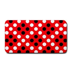 Red & Black Polka Dot Pattern Medium Bar Mats by Nexatart