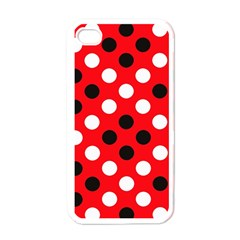 Red & Black Polka Dot Pattern Apple Iphone 4 Case (white)