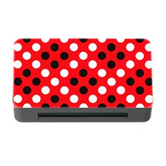 Red & Black Polka Dot Pattern Memory Card Reader With Cf
