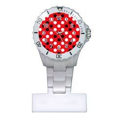 Red & Black Polka Dot Pattern Plastic Nurses Watch by Nexatart