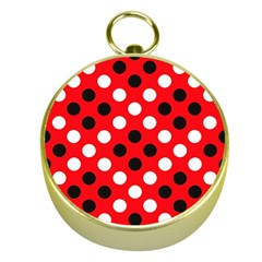 Red & Black Polka Dot Pattern Gold Compasses by Nexatart