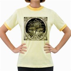Swans Floral Pattern Vintage Women s Fitted Ringer T Shirts