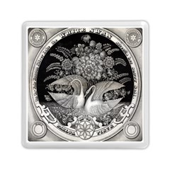 Swans Floral Pattern Vintage Memory Card Reader (square)  by Nexatart