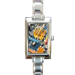 Technology Computer Chips Gigabyte Rectangle Italian Charm Watch by Nexatart