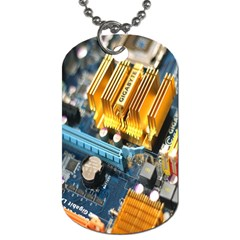 Technology Computer Chips Gigabyte Dog Tag (one Side)