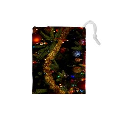 Night Xmas Decorations Lights  Drawstring Pouches (small)