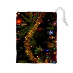 Night Xmas Decorations Lights  Drawstring Pouches (large)