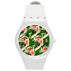 Floral Collage Round Plastic Sport Watch (m)