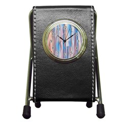 Vertical Abstract Contemporary Pen Holder Desk Clocks by Nexatart