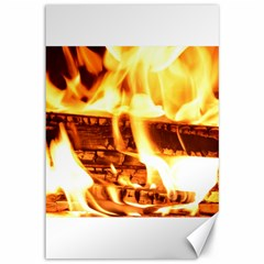 Fire Flame Wood Fire Brand Canvas 12  X 18