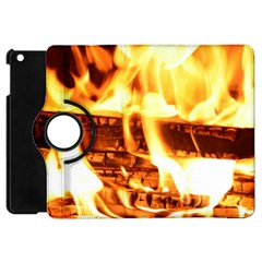 Fire Flame Wood Fire Brand Apple Ipad Mini Flip 360 Case by Nexatart