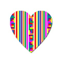 Rainbow Geometric Design Spectrum Heart Magnet by Nexatart