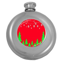Merry Christmas Round Hip Flask (5 Oz) by Nexatart