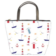 Seaside Beach Summer Wallpaper Bucket Bags by Nexatart