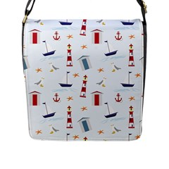 Seaside Beach Summer Wallpaper Flap Messenger Bag (l)