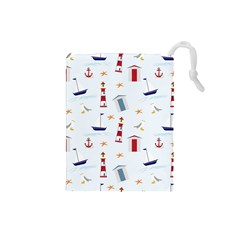 Seaside Beach Summer Wallpaper Drawstring Pouches (small)
