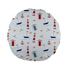 Seaside Beach Summer Wallpaper Standard 15  Premium Flano Round Cushions