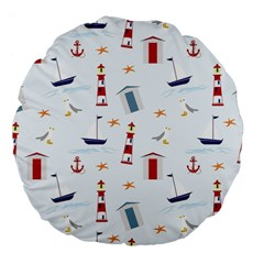 Seaside Beach Summer Wallpaper Large 18  Premium Flano Round Cushions