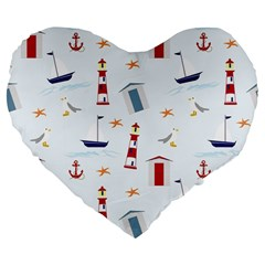 Seaside Beach Summer Wallpaper Large 19  Premium Flano Heart Shape Cushions