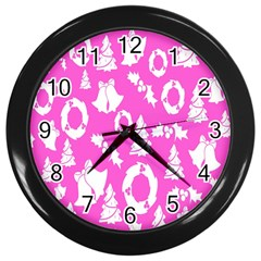 Pink Christmas Background Wall Clocks (black) by Nexatart