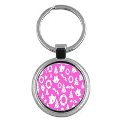 Pink Christmas Background Key Chains (round)