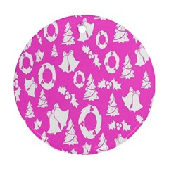 Pink Christmas Background Round Ornament (two Sides)