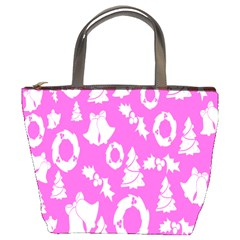 Pink Christmas Background Bucket Bags