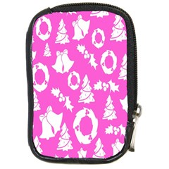 Pink Christmas Background Compact Camera Cases
