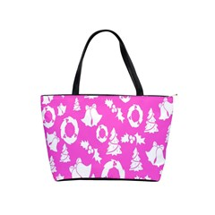 Pink Christmas Background Shoulder Handbags by Nexatart