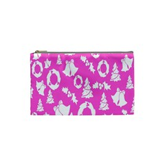 Pink Christmas Background Cosmetic Bag (small)