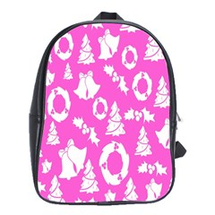 Pink Christmas Background School Bags(large)  by Nexatart