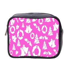 Pink Christmas Background Mini Toiletries Bag 2 Side