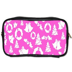 Pink Christmas Background Toiletries Bags 2 Side