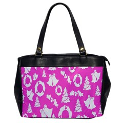 Pink Christmas Background Office Handbags