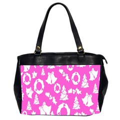 Pink Christmas Background Office Handbags (2 Sides)