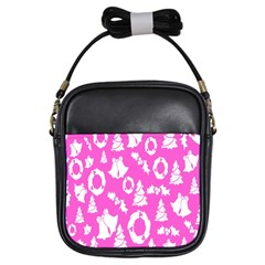 Pink Christmas Background Girls Sling Bags