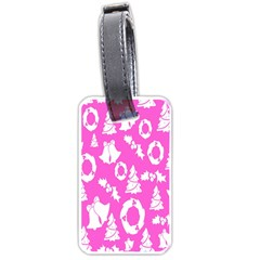 Pink Christmas Background Luggage Tags (two Sides)