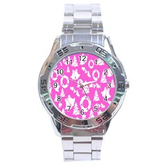 Pink Christmas Background Stainless Steel Analogue Watch