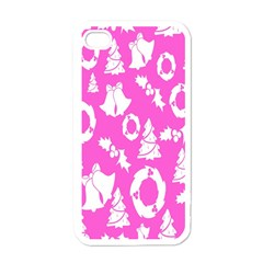 Pink Christmas Background Apple Iphone 4 Case (white)