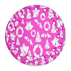 Pink Christmas Background Round Filigree Ornament (two Sides)