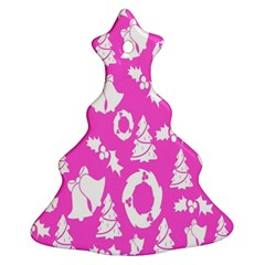 Pink Christmas Background Christmas Tree Ornament (two Sides)