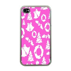 Pink Christmas Background Apple Iphone 4 Case (clear)