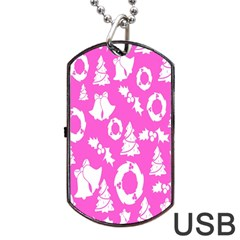 Pink Christmas Background Dog Tag Usb Flash (two Sides)