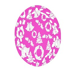 Pink Christmas Background Oval Filigree Ornament (two Sides)