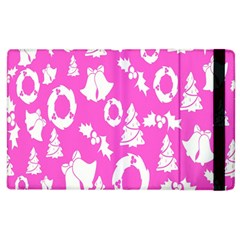 Pink Christmas Background Apple Ipad 3/4 Flip Case